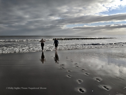 Running into the North Sea on January 1st with my cousin Nicola