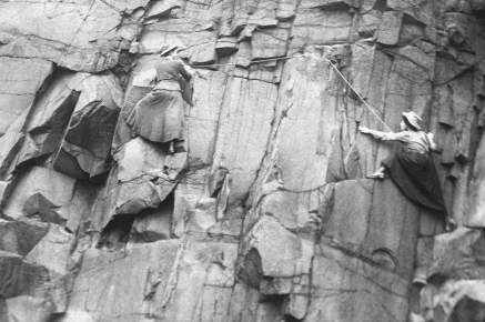 Members of the Ladies' Scottish Climbing Club training on Salisbury Crags, Edinburgh. Photo: Wikipedia
